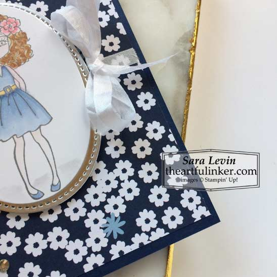 Hey Girlfriend with Paper Blooms birthday card ribbon detail Stampin' Up! VIDEO TUTORIAL – Click for details – SHOP- ORDER STAMPIN' UP! PRODUCTS ONLINE. Purchase the $99 Starter Kit & enjoy a 20% discount! Tons of paper crafting ideas & FREE Online Classes theartfulinker.com