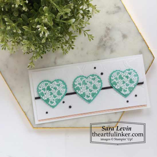 Sending Hearts January 2021 Paper Pumpkin alternate 5 slimline card for A Paper Pumpkin Thing Blog Hop Stampin' Up! VIDEO TUTORIAL – Click for details – SHOP- ORDER STAMPIN' UP! PRODUCTS ONLINE. Purchase the $99 Starter Kit & enjoy a 20% discount! Tons of paper crafting ideas & FREE Online Classes theartfulinker.com