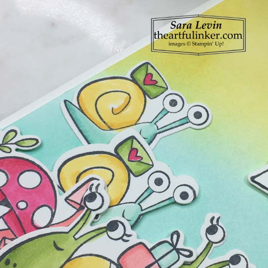 Snailed It Card with Blended Background snails detail Stampin' Up! VIDEO TUTORIAL – Click for details – SHOP- ORDER STAMPIN' UP! PRODUCTS ONLINE. Purchase the $99 Starter Kit & enjoy a 20% discount! Tons of paper crafting ideas & FREE Online Classes theartfulinker.com