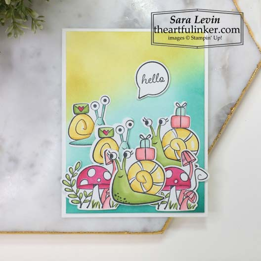 Snailed It Card with Blended Background Stampin' Up! VIDEO TUTORIAL – Click for details – SHOP- ORDER STAMPIN' UP! PRODUCTS ONLINE. Purchase the $99 Starter Kit & enjoy a 20% discount! Tons of paper crafting ideas & FREE Online Classes theartfulinker.com