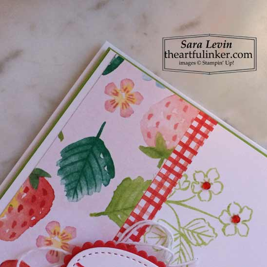 Sweet Straberry Berry Delight Thank You card designer paper detail Stampin' Up! VIDEO TUTORIAL – Click for details – SHOP- ORDER STAMPIN' UP! PRODUCTS ONLINE. Purchase the $99 Starter Kit & enjoy a 20% discount! Tons of paper crafting ideas & FREE Online Classes theartfulinker.com