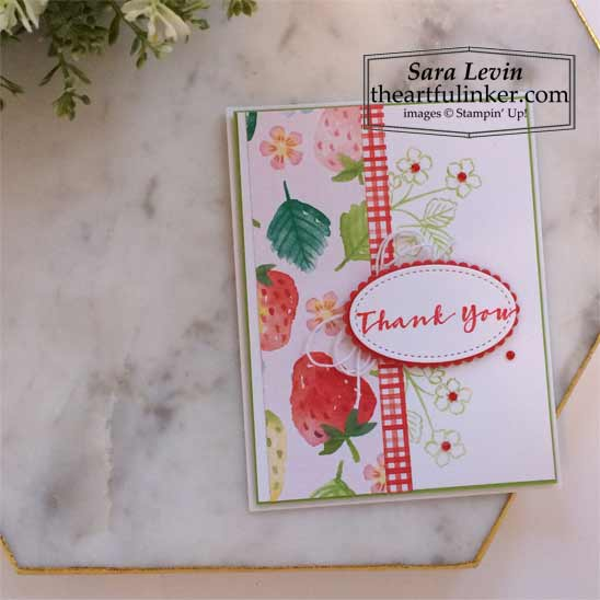 Sweet Straberry Berry Delight Thank You card Stampin' Up! VIDEO TUTORIAL – Click for details – SHOP- ORDER STAMPIN' UP! PRODUCTS ONLINE. Purchase the $99 Starter Kit & enjoy a 20% discount! Tons of paper crafting ideas & FREE Online Classes theartfulinker.com
