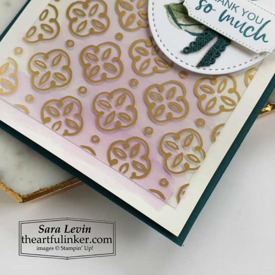 A Touch of Ink slimline card with Golden Garden acetate over watercolor wash background Shop for Stampin Up products in the US with Sara Levin theartfulinker.com