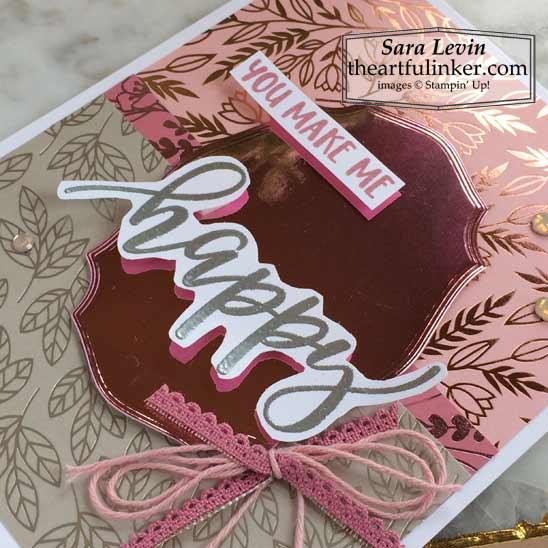 Easy Pretty Perennials True Love card sentiment and ribbon detail for Stamping Sunday Blog Hop Specialty Papers Shop for Stampin Up in the US with Sara Levin theartfulinker.com