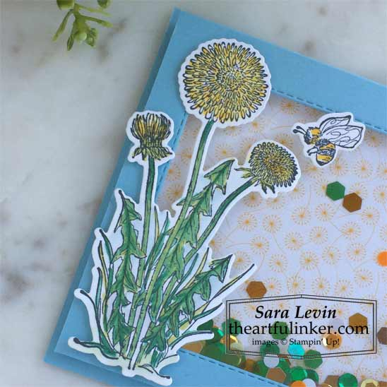 Garden Wishes Shaker card colored with Stampin Blends Shop for Stampin Up in the US with Sara Levin theartfulinker.com