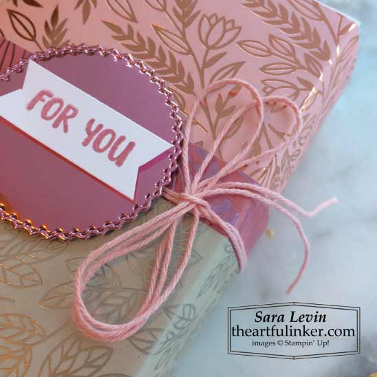 Love You Always True Love treat box sentiment and ribbon detail for Stamping Sunday Blog Hop Specialty Papers Shop for Stampin Up in the US with Sara Levin theartfulinker.com