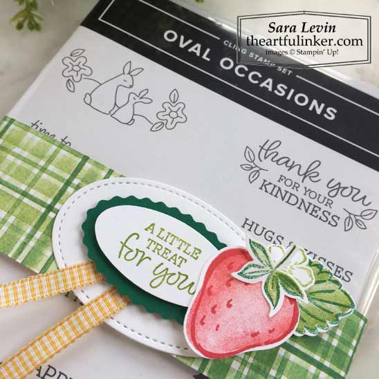 Oval Occasions Sweet Strawberry Gift belly band detail, ready to go to a customer from Sara Levin theartfulinker Shop for Stampin Up in the US