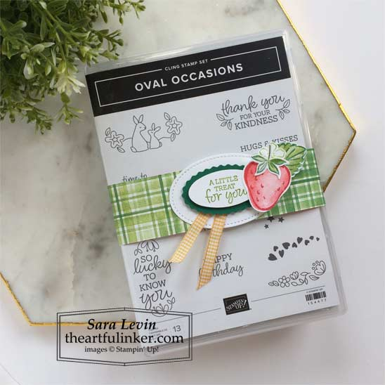 Oval Occasions Sweet Strawberry Gift wrapped up and ready to go to a customer from Sara Levin theartfulinker Shop for Stampin Up in the US
