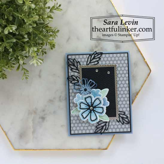 Pretty Perennials card in shades of blue for OSAT blog hop Where the Wild Things Grow Shop for Stampin Up in the US with Sara Levin theartfulinker.com