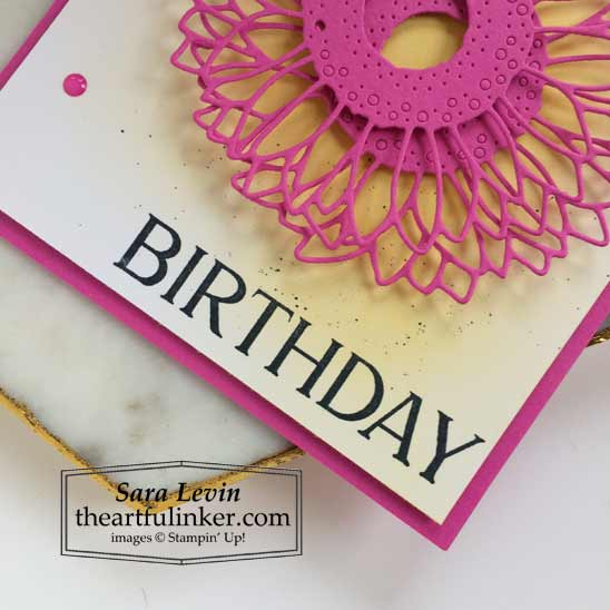 Sunflower birthday card for The Spot Happiest of Birthdays sentiment detail Shop for Stampin Up with Sara Levin at theartfulinker.com