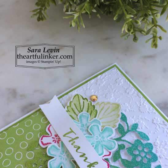 Sweet Strawberry Oh So Ombre Thank You card with Ornate Floral embossing detail Shop for Stampin Up in the US with Sara Levin theartfulinker.com