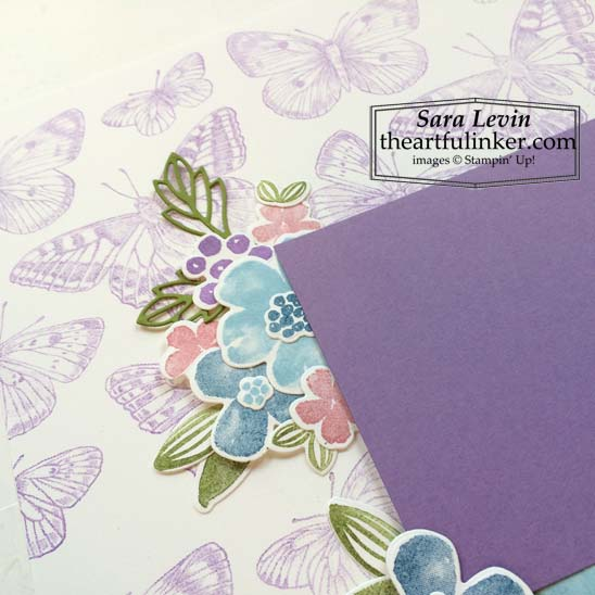 Stampin Up Butterfly Brilliance Pretty Perennials scrapbook page flower detail for Scrapbooking Global March 2021 Blog Hop SHOP for Stampin Up in the US with Sara Levin theartfulinker.com