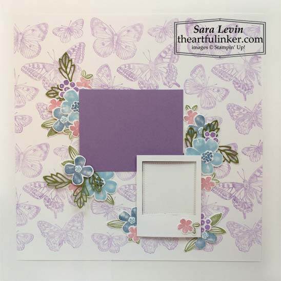 Stampin Up Butterfly Brilliance Pretty Perennials scrapbook page for Scrapbooking Global March 2021 Blog Hop SHOP for Stampin Up in the US with Sara Levin theartfulinker.com