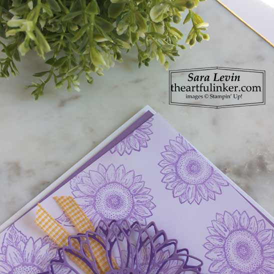 Stampin Up Celebrate Sunflowers baby card blended background detail SHOP for Stampin Up products in the US with Sara Levin theartfulinker.com