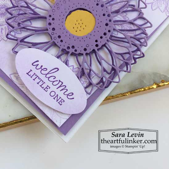 Stampin Up Celebrate Sunflowers baby card with Oval Occasions sentiment SHOP for Stampin Up products in the US with Sara Levin theartfulinker.com