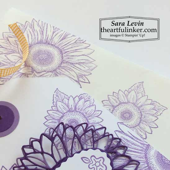 Stampin' Up Celebrate Sunflowers gift bag and tag for baby background detail SHOP for Stampin Up products in the US with Sara Levin theartfulinker.com