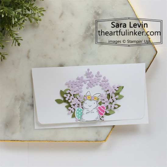 Easter money envelope using Springtime Joy and Arrange a Wreath SHOP for Stampin Up in the US with Sara Levin theartfulinker.com