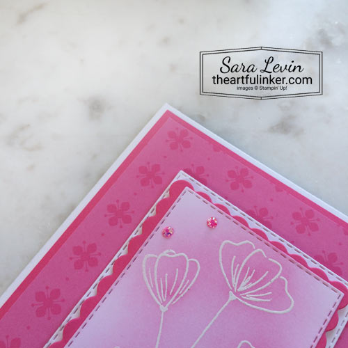 Flowers of Friendship In Color with Polished Pink designer paper detail SHOP for Stampin Up in the US with Sara Levin theartfulinker.com