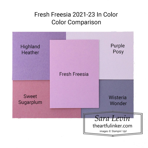 New 2021-23 Stampin Up In Color Fresh Freesia color comparison SHOP for Stampin Up in the US with Sara Levin theartfulinker.com