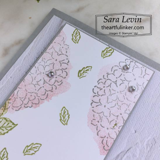 Hydrangea Haven with In Good Taste designer paper card stamped layer detail SHOP for Stampin Up in the US with Sara Levin theartfulinker.com