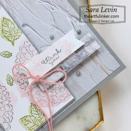 Hydrangea Haven with In Good Taste designer paper card sentiment detail SHOP for Stampin Up in the US with Sara Levin theartfulinker.com