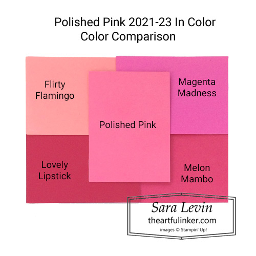 New In Color Polished Pink color comparison SHOP for Stampin Up in the US with Sara Levin theartfulinker.com