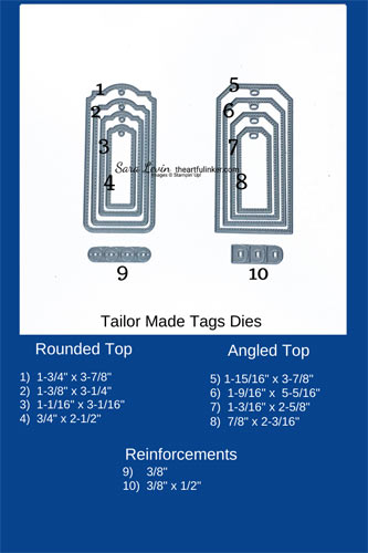 Tailor Made Tags Dies Size Chart with measurements SHOP for Stampin Up in the US with Sara Levin theartfulinker.com