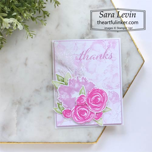 Artistically Inked thank you card in Fresh Freesia Magenta Madness and Granny Apple Green color combo SHOP for Stampin Up in the US with Sara Levin theartfulinker.com