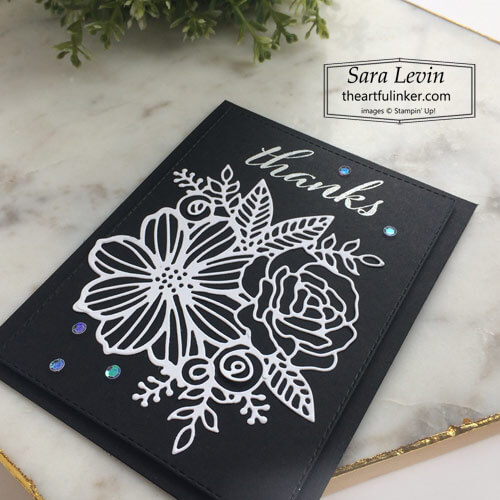Artistically Inked black and white thank you card for Stamping Sunday Blog Hop Bundled Up SHOP for Stampin Up with Sara Levin theartfulinker.com