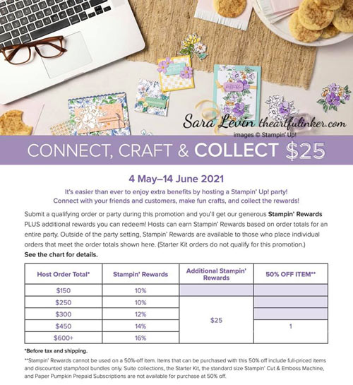 Additional Stampin' Rewards during May 2021 with product orders $250 or more SHOP for Stampin Up with Sara Levin theartfulinker.com