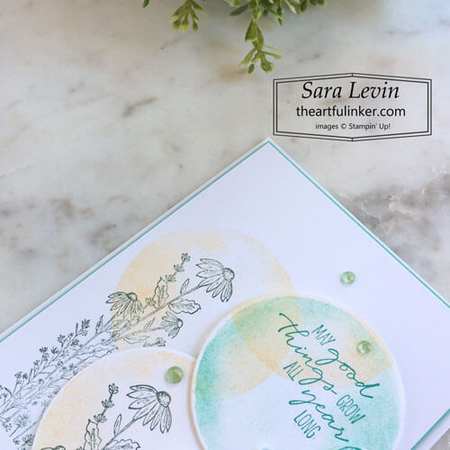Dragonfly Garden Watercolor Shapes card detail for OSAT Blog Hop Mash Up SHOP for Stampin Up with Sara Levin theartfulinker.com