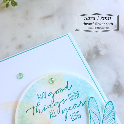 Dragonfly Garden Watercolor Shapes card sentiment detail OSAT Blog Hop Mash Up SHOP for Stampin Up with Sara Levin theartfulinker.com