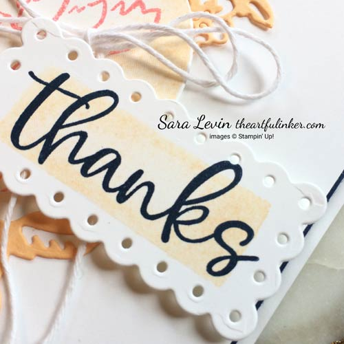 Hand Penned Petals Biggest Wish Watercolor Shapes thank you card with Pale Papaya Scalloped Contour die cut sentiment detail for Stamping Sunday Blog Hop In Color SHOP for Stampin Up with Sara Levin theartfulinker.com