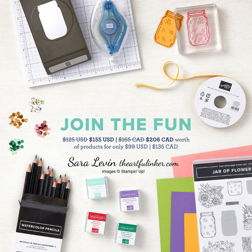 Join My Stampin Up team during May 2021 and choose $155 in product for your $99 kit with Sara Levin theartfulinker.com