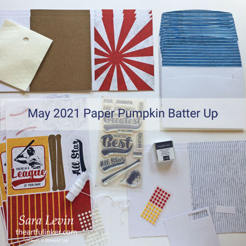 May 2021 Paper Pumpkin Batter Up kit contents SUBSCRIBE to Paper Pumpkin with Sara Levin theartfulinker.com