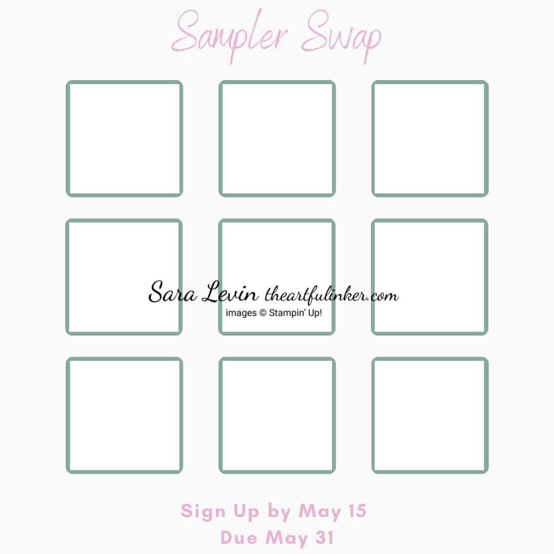 2021 Stampin Up Annual Catalog Sampler Swap grid sign up by May 15 SHOP for Stampin Up with Sara Levin theartfulinker.com