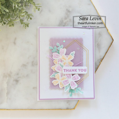 Flowers of Friendship thank you card for Creation Station blog hop Flower Frenzy SHOP for Stampin Up with Sara Levin theartfulinker.com