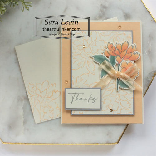 Hand Penned Petals Thank You card SHOP for Stampin Up with Sara Levin theartfulinker.com