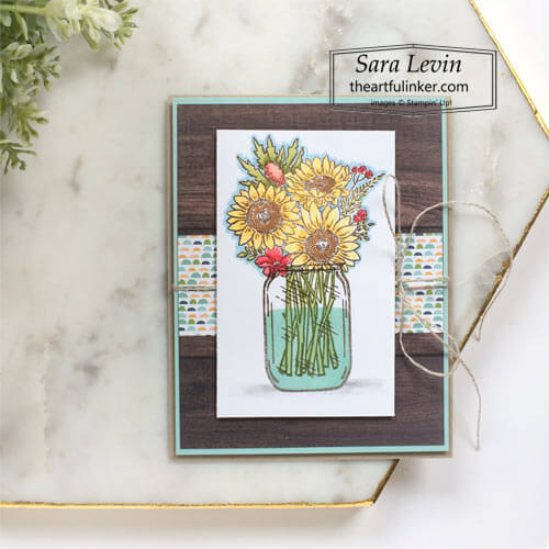 Jar of Flowers casual stamping card SHOP for Stampin Up with Sara Levin theartfulinker.com
