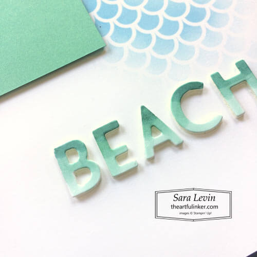 Timeless Tropical Beach scrapbook page ombre Beach title for Scrapbooking Global SHOP for Stampin Up with Sara Levin theartfulinker.com