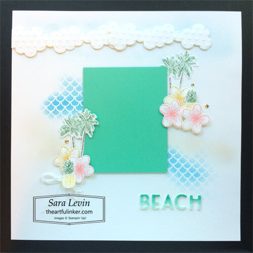 Timeless Tropical Beach scrapbook page for Scrapbooking Global SHOP for Stampin Up with Sara Levin theartfulinker.com