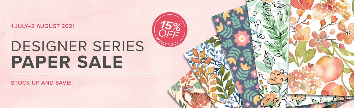 Save 15 percent on select Stampin Up Designer Paper during July 2021 SHOP for Stampin Up with Sara Levin theartfulinker.com