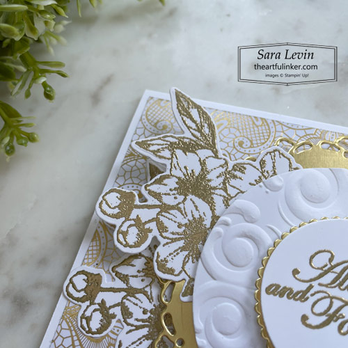 Forever Blossoms wedding card embossed flowers detail SHOP for Stampin Up with Sara Levin theartfulinker.com