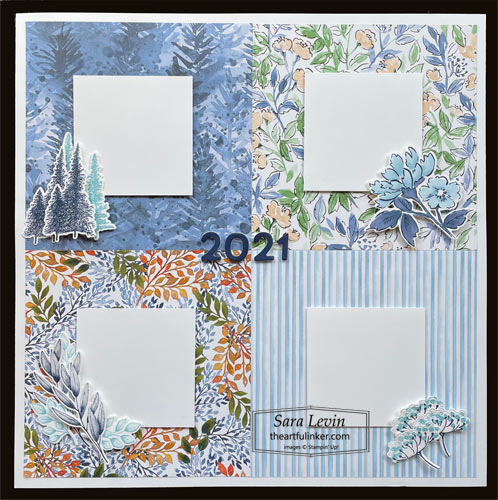 Four Seasons scrapbook page with Hand Penned Petals, Mountain Air and Forever Fern for Scrapbooking Global Blog Hop SHOP for Stampin Up with Sara Levin theartfulinker.com