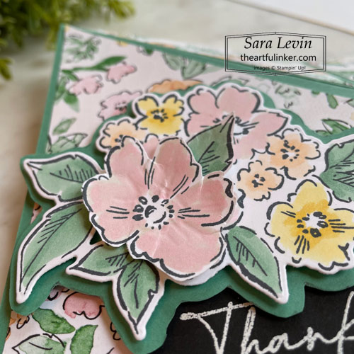 Hand Penned Petals Mirror Fold card stamped flowers detail SHOP for Stampin Up with Sara Levin theartfulinker.com