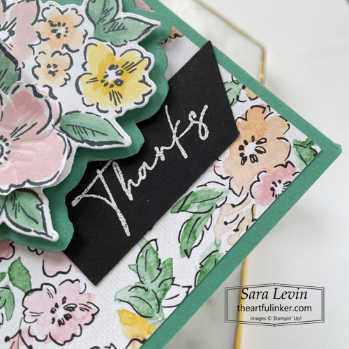 Hand Penned Petals Mirror Fold card sentiment detail SHOP for Stampin Up with Sara Levin theartfulinker.com