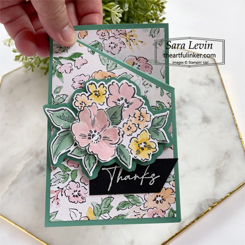 Hand Penned Petals Mirror Fold card SHOP for Stampin Up with Sara Levin theartfulinker.com