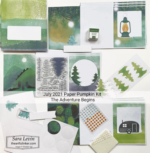 July 2021 Paper Pumpkin The Adventure Begins kit contents SHOP for Stampin Up with Sara Levin theartfulinker.com