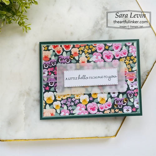 Pansy Petals Flip Book fun fold card front SHOP for Stampin Up with Sara Levin theartfulinker.com