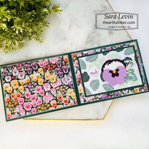 Pansy Petals Flip Book fun fold card open SHOP for Stampin Up with Sara Levin theartfulinker.com